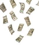 Dinheiro que cai de acima Fotografia de Stock