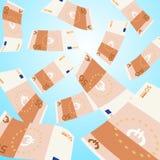 Dinheiro que cai do céu Queda de 50 cédulas do Euro Fotografia de Stock Royalty Free