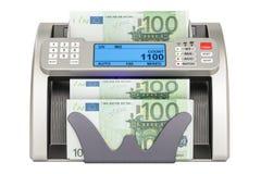 Dinheiro que conta a máquina com euro, 3D Fotografia de Stock Royalty Free