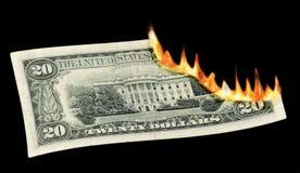 Dinheiro a queimar-se! Foto de Stock