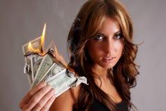 Dinheiro a queimar-se Imagem de Stock Royalty Free
