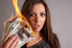 Dinheiro a queimar-se Imagem de Stock