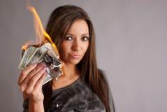 Dinheiro a queimar-se Foto de Stock