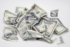 Dinheiro rasgado Fotografia de Stock