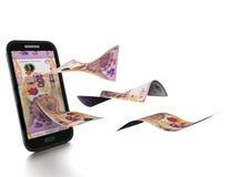 dinheiro rendido 3D de Argentina inclinado e isolado no fundo branco ilustração royalty free