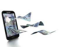 dinheiro rendido 3D de Qatari inclinado e isolado no fundo branco ilustração do vetor