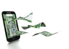 dinheiro rendido 3D do peso de Filipinas inclinado e isolado no fundo branco Fotos de Stock Royalty Free