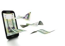 dinheiro rendido 3D do rial iraniano inclinado e isolado no fundo branco ilustração do vetor