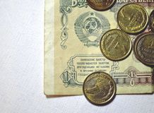 Dinheiro soviético em um fundo branco Foto de Stock