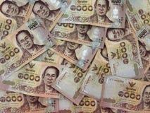Dinheiro tailandês, lotes da moeda tailandesa do dinheiro Foto de Stock