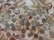 Dinheiro tailandês, lotes da moeda tailandesa do dinheiro Imagem de Stock Royalty Free