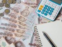 Dinheiro tailandês - moeda do baht tailandês Imagem de Stock