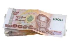 Dinheiro tailandês: uma pilha de 1000 notas de banco imagem de stock royalty free