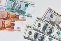 Dinheiro Taxa de câmbio entre o dólar e o rublo Imagens de Stock Royalty Free