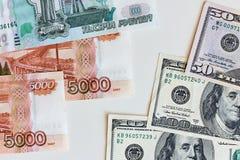 Dinheiro Taxa de câmbio entre o dólar e o rublo Fotos de Stock
