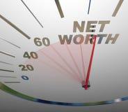 Dinheiro total crescente de aumentação da riqueza do velocímetro do valor líquido Imagens de Stock Royalty Free