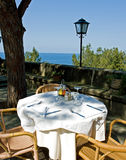 Dining. Restaurant with a beautiful sea view Royalty Free Stock Image