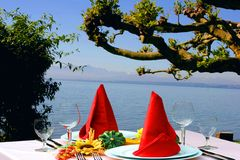 Dining. Good appetite at the lake of Bodensee, Germany stock photography