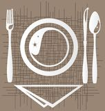 Dining. On an abstract background of a stylized outline of a dining unit: a plate, fork, knife, spoon and napkin Royalty Free Stock Image