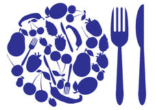 Dining Amenities: plate, fork and knife. The illustration shows a plate consisting of a number of details relating to food, as well as fork and knife Royalty Free Stock Image