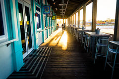 Dining area and businesses on the pier in Daytona Beach, Florida Royalty Free Stock Photos
