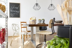 Dining area for common meals stock photos
