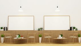 Dining area and frame in restaurant or coffee shop - 3D Renderin. G for artwork Stock Photo