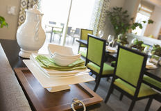 Dining Area of Home with Apple Green Accents Stock Photography