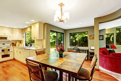 Dining area in house with open floor plan Stock Photos