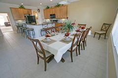Dining Area and Kitchen. A Kitchen and Dining Area in a House Royalty Free Stock Photo