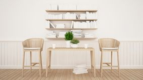 Dining area and library in restaurant or cafe - 3D Rendering stock illustration