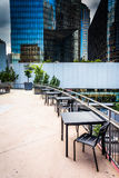 Dining area and modern buildings in downtown Charlotte, North Ca Stock Photo