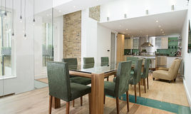 Dining Area with Open Plan Kitchen Stock Photo