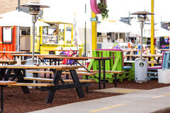 Dining area in outdoor mall. Details Royalty Free Stock Images