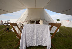 Dining Area of 1812 Tent Royalty Free Stock Photography