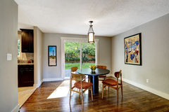 Dining area with walkout deck in new house Royalty Free Stock Photos