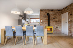 Dining area with wood table Stock Photos