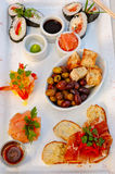 Dining - Asian style. A platter of asian style food served a restaurant Royalty Free Stock Image