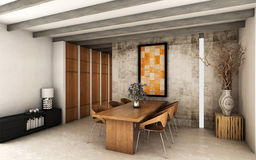 Dining room. Awesome dining room with vintage touch and wooden beams Royalty Free Stock Photos