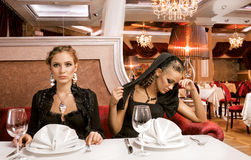 Dining Beauties. royalty free stock photography