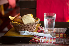 Dining bread and glass of water Stock Photo