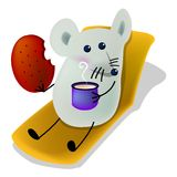 Dining, breakfast time. Little mice eating biscuit and drinking milk, cartoon, , illustration Royalty Free Stock Photos