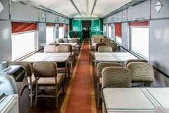 Dining Car in an Old Train Car. Dining car on an old vintage train stock images