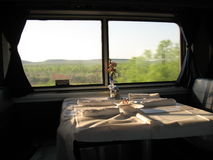 Dining car on train Royalty Free Stock Image
