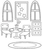 Dining coloring page. Useful as coloring book for kids stock illustration