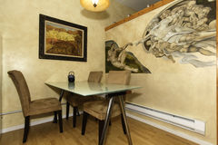 Dining corner with painted wall Stock Image