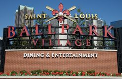 Dining and Entertainment at Ballpark Village, Downtown St. Louis, Missouri. Royalty Free Stock Images