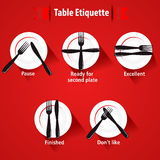 Dining etiquette and table manner, forks and knifes signals. Created Dining etiquette and table manner, forks and knifes signals vector illustration