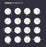 Dining etiquette unofficial version. 16 characters to restaurant Royalty Free Stock Images