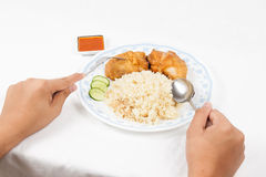 Dining the fried chicken rice set Royalty Free Stock Images